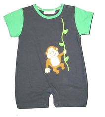 Luigi Monkey Play navy and green romper with a swinging monkey on the front. Soft and great for everyday.