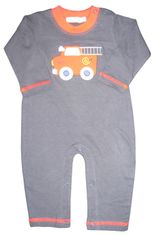 Luigi Mr. Fred the Firetruck on a soft navy onepiece in Peruvian cotton.