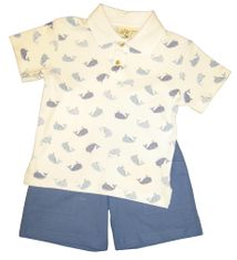 Luigi New England Whale Watching Blue and White Knit Shirt with Whale Print and matching Blue Chambrey Cargo Shorts. Peruvian Cotton.