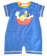 Luigi Noah's Ark royal and orange short sleeve soft knit cotton one piece romper
