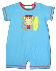 Luigi Papa's Lil Monkey turquoise and red short sleeve soft knit cotton one piece romper.