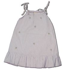 Luigi Pick a Petal lavender striped seersucker dress with embroidered flowers that ties at the shoulders. Fun and great.