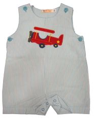 Luigi Pilot Baby soft blue pin stripe shortall and airplane appliqued. Snaps in the inseam. Peruvian pima cotton.