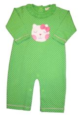 Luigi Pink Kitty on Green Long Sleeve Peruvian Cotton One Piece that snaps in the inseam.