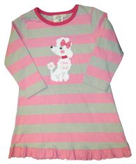 Luigi Poodle Party with a poodle on a silver and pink dress in Peruvian cotton with a ruffle hem.