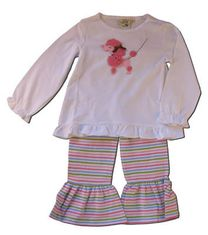 Luigi Poodle Play Soft white cotton knit top with poodle and stripe knit pants with ruffle.