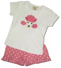 Luigi Prissy Poodle on a soft cotton white knit shirt with cap sleeve and matching print knit shorts with ruffle.
