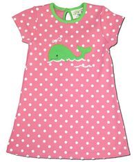Luigi Prissy Whale A Line dress in hot pink and bright Green. Soft cotton.