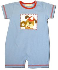 Luigi Puppy blue and red short sleeve soft knit cotton one piece romper.