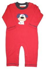 Luigi Puppy Pal Red Long Sleeve Soft Knit Peruvian Cotton One Piece that snaps in the inseam for easy changing.