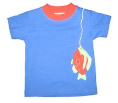 Luigi Rather Be Fishing blue knit shirt with One Fish appliqued. Peruvian pima cotton.