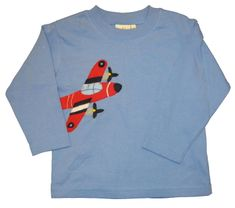 Luigi Red Airplane on a soft chambrey blue knit shirt. Peruvian soft cotton.