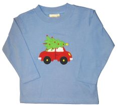 Luigi Red Car with Tree on a soft long sleeve blue shirt in Peruvian cotton.