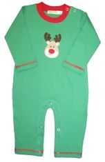 Luigi Reindeer on Green Long Sleeve Soft Knit Peruvian Cotton One Piece that snaps in the inseam.