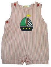 Luigi Sailor Baby soft red pin stripe shortall and sailboat appliqued. Snaps in the inseam. Peruvian pima cotton.
