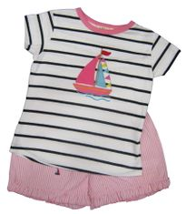Luigi Sailor Girl Soft Knit Navy Stripe Shirt with a Sailboat appliqued and matching pink and white shorts with sailboats embroidered. Peruvian pima cotton.