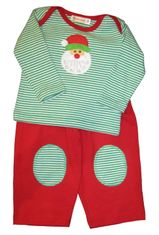 Luigi Santa is Coming on a soft red and green stripe Peruvian cotton knit shirt and soft cotton pants with patches.