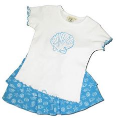 Luigi Seashell lettuce edge cotton knit shirt and two tiered printed skort with a seashell print. Soft cotton.