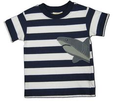Luigi Shark Attack navy striped shirt with a shark.