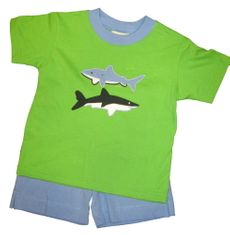 Luigi Shark Boy Soft Knit Lime Shirt with Sharks appliqued and matching blue brushed cotton shorts.