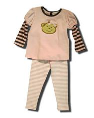 Luigi Silly Monkey pink shirt with a monkey face on the front and matching striped leggings. Super cute and great for school and play.