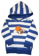 Luigi Sports Kid on a soft blue strip knit hoodie.
