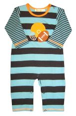 Luigi Sports on Blue Stripe Long Sleeve Soft Knit Peruvian Cotton One Piece that snaps in the inseam.