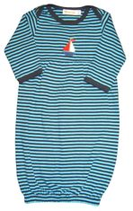 Luigi Stephen the Sailboat on a soft turquoise and navy stripe baby sack in Peruvian cotton.
