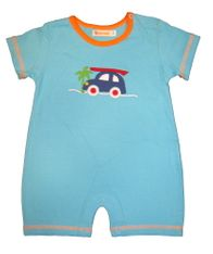 Luigi Surfer Baby soft knit one piece with sleeves and car and surfboard appliqued. Peruvian pima cotton.