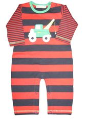 Luigi Thomas the Towtruck on a soft navy and red stripe Peruvian cotton onepiece.