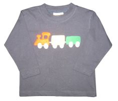 Luigi Train Motif on Navy Long Sleeve Peruvian Cotton Shirt.