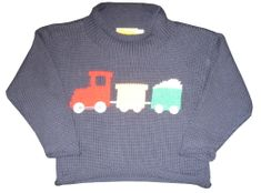 Luigi Train Motif on Navy Long Sleeve Peruvian Cotton Sweater.