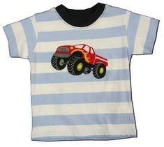 Luigi Truck Display blue striped shirt with a monster truck on the front. Very soft and great for everyday.