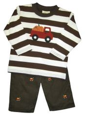 Luigi Truck with Pumpkins on Brown Stripe Long Sleeve Soft Knit Peruvian Cotton Shirt and Matching Brown Corduroy Pants with Pumpkins Embroidered..
