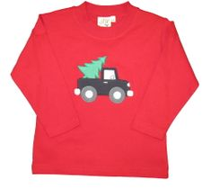 Luigi Truck with Tree on Red Long Sleeve Peruvian Cotton Shirt.