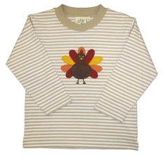 Luigi Turkey on Khaki Stripe Long Sleeve Peruvian Cotton Shirt.