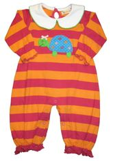 Luigi Turtle Time on a soft orange and fuchsia onepiece in Peruvian cotton.
