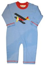 Luigi Watch the Airplane on a soft blue onepiece in Peruvian cotton.