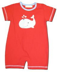Luigi Whale blue and red short sleeve soft knit cotton one piece romper.