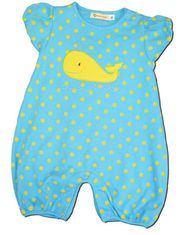 Luigi Whale light turquoise and yellow cap sleeve soft knit cotton one piece.