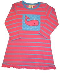 Luigi Whale Watching stripe dress in turquoise and pink in Peruvian cotton.