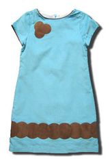 Maggie Breen Lounge Leopards aqua corduroy dress with some suede trim and a flower. Super cute and fun for your girl.