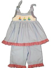 Mom n Me Sailboat For Sale blue capri set with sailboats smocked across the front. Matches the boys.