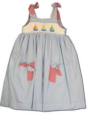 Mom n Me Sailboat For Sale blue sundress with sailboats smocked across the front. Matches the boys.