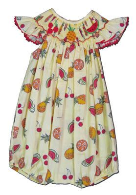 Mom n Me Sassy Fruit printed angel wing bishop bubble with tropical fruit. Cute and fun.