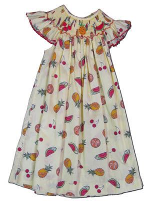 Mom n Me Sassy Fruit printed angel wing bishop dress with tropical fruit. Cute and fun.