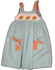 Mom n Me Snail Mail aqua sundress with smocked snails. Very cute and matches the boys.