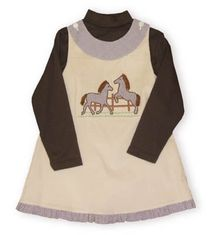 Mondays Child I Love Horses soft khaki corduroy jumper with appliqued horses and soft chocolate brown cotton turtleneck.