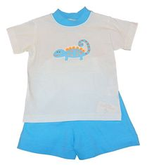 Luigi Boys Lizard on Knit Shirt with Matching Knit Turquoise Shorts. Peruvian pima cotton
