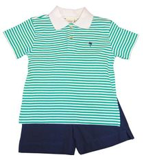 Luigi Boys Green Strip Knit Polo Shirt with Palm Tree Embroidery and Matching Navy Shorts. Peruvian pima cotton